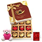 Valentine Chocholik Premium Gifts - Joy Of Chocolates Gift Box With Teddy And Love Card