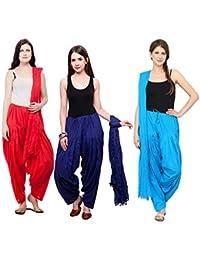 Mango People Products Combo Of Red, Royal Blue, Light Rama 3 Indian Readymade Patiala Salwar Dupatta Set
