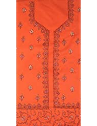 Exotic India Burnt-Ochre Salwar Kameez Fabric From Kashmir With Sozni Embr - Red