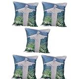 MeSleep Digitally Printed Christ The Redeemer 5 Piece Cushion Cover Set - Multicolor