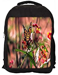 """Snoogg Butterfly Sitting In Red Flower Casual Laptop Backpak Fits All 15 - 15.6"""" Inch Laptops"""