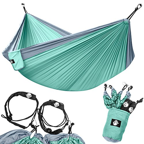 Legit Camping – Double Hammock – Lightweight Parachute Portable Hammocks for Hiking , Travel , Backpacking , Beach , Yard . Gear Includes Nylon Straps & Steel Carabiners (Grey/Sea Green)