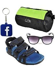 Elligator Stylish Blue Floater With Gym Bag,Black Wayfarer Sunglass And Facebook KeyChain Combo (ELFT1013)