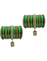 Green Bridal Chura Wedding Bangles Chuda By My Design(size-2.6)