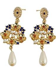 STRIPES Presents Pearls & Stones Dangler Earrings For Women / Girls.
