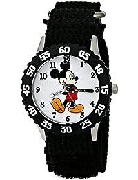 Disney Kids' W001574 Mickey Mouse Stainless Steel, Black Nylon Strap, Analog Display, Black Watch
