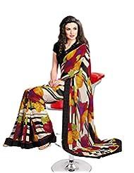 Faux Georgette Saree In Multicolor Colour For Casual Wear Wear - B00V6G5DPE