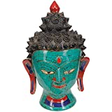 Exotic India Lord Buddha Head - Brass Statue With Inlay