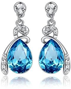 Eternal Love Teardrop Swarovski Elements Crystal Earrings Ocean Blue - Medium Crystal 1144401