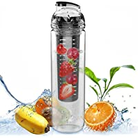 Large 32oz Fruit Infused Water Bottle - Free Fruit Infuser Guide And Tips Included - Exclusive Colors,27OZ