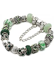 "Silver European Charm Bracelet 7.9"" Green Murano Glass Beads Bracelets Kit 23, By EArt"