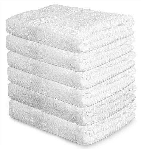 Cotton Pool Gym Bath Towels (6 Pack, 22 x 44 Inch) Light...