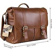 Koolertron Perfect Vintage Retro Genuine Leather Multi-pockets DSLR Camera Bag/Messenger/Shoulder/Handbag 15.6...