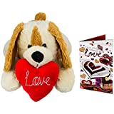 Celebrations Plush Yellow Dog With Heart N Valentine Card Combo (17 Inch)
