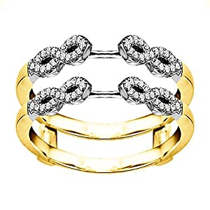 0.38CT Diamonds Infinity Ring Guard Enhancer set in Two Tone Sterling Silver (0.38CT TWT Diamonds G-H I2-I3)