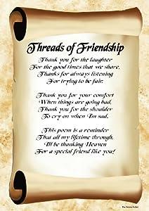 Threads of Friendship Inspirational Poem Poster Print