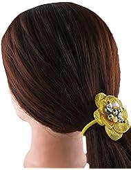 Anuradha Art Yellow Colour Stylish Design With Stone Hair Band Stylish Rubber Band For Women/Girls