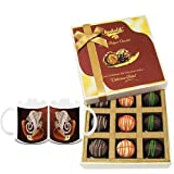 Chocholik Belgium Chocolates - 9pc Ultimate Assorted Collection Of Chocolate With Diwali Special Coffee Mugs -...