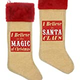 "Christmas Stocking - 22 Inch Deluxe - 2 Pack - ""I Believe In Santa Claus"" And ""I Believe In The Magic Of Christmas."""