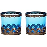 Home And Bazaar Traditional Decorative Votive Set Of 2 . Sky Blue 2.8x2.8x2.8 Inch.