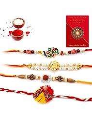 TRADITION INDIA Traditional Handmade Multi-Color Stylish Jaipuri Mauli Thread And Beads Rakhi Set Of 4 Piece For... - B01J8X554U