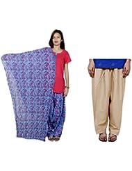 Indistar Women's Cotton Blue Patiala Salwar With Dupatta And Beige Plain Salwar - B01HV505J2