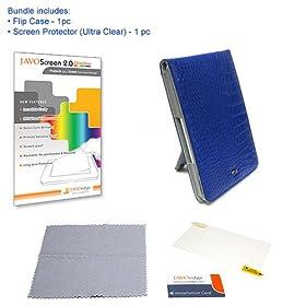 JAVOedge Cobalt Blue Croc Flip Style Case + Ultra Clear JAVOscreen Bundle for Amazon Kindle 2