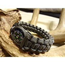 Foliage Green Paracord Survival Bracelet With 20mm Compass Choose Your Size By Bostonred2010