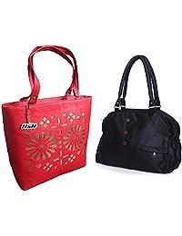 Arc HnH Women HandBag Combo - Elegant Black + Blossom Red