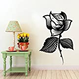 Decal Style Style Rose Flower Sticker Medium Size-25*29 Inch Color - Black