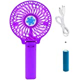 Casotec Portable Mini USB Fan Rechargeable Personal Handheld Fan Foldable Battery Operated / USB Powered For Home And Office - Purple