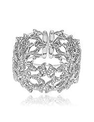 Mahi CZ Collection White Rhodium Plated CZ Stones Kada For Women-BA1100786R