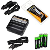 Fenix ARE-C1 Two Bays Li-ion 18650 Home/in-car Battery Charger Fenix 18650 ARB-L2 2600mAh Rechargeable Battery...