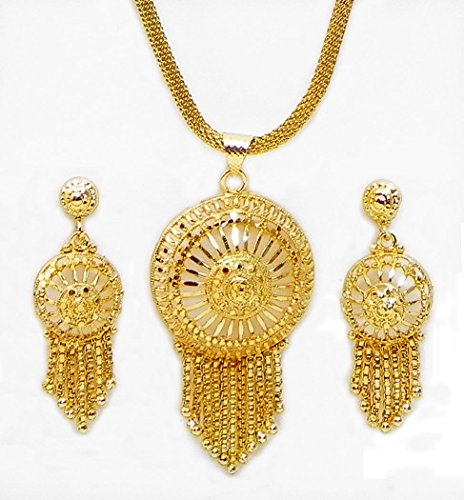 DollsofIndia Gold Plated Chain With Jhalar Pendant And Earrings - Metal - Golden