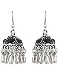 The Luxor Black & Silver Colored Designer Oxodized Earrings For Navratri For Women