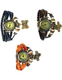 Felizer Fancy Butterfly Bracelet Vintage Multi Strap Watch For Women & Girls (Black, Brown & Orange)- (Pack Of 3)