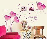 ufengke® Fleurs En Forme de Coeur Cadre Photo Romantique Rose Stickers Muraux, Salle de Séjour Chambre à Coucher Autocollants Amovibles