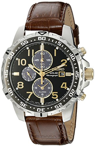 Seiko Men's SSC309 Stainless Steel Watch with Brown Leather Band
