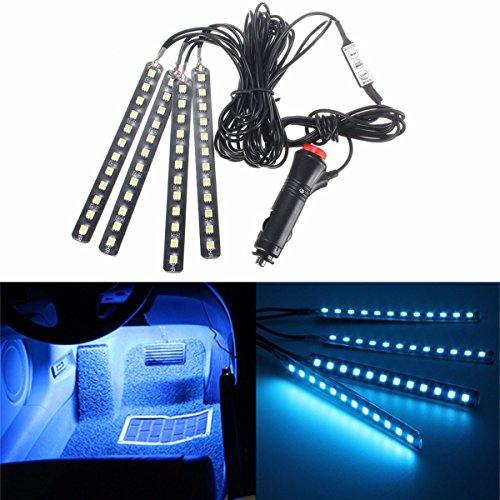 AUDEW 4-Piece LED Car Atmosphere light Strips 6 Color LED Interior Underdash Lighting Kit Neon Decoration Lamp Ice blue