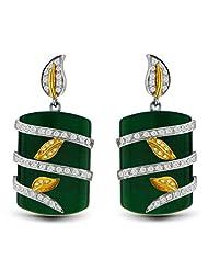 Aastha Jain Green Zade Quartz Sterling Silver Leaf(18k Gold Plated) Earring For Women