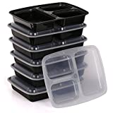 Estilo 3-compartment Microwave Safe Food Container With Lid/divided Plate/bento Box/lunch Tray With Cover, Black...