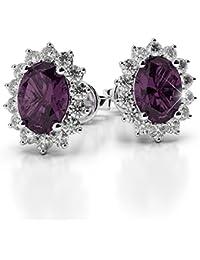 Ariettejewels Purple Crystal 18K White Gold Plated Stud Earrings For Women