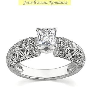 Splendid Vintage Engagement ring 1.00 Carat Princess Cut Diamond on White Gold