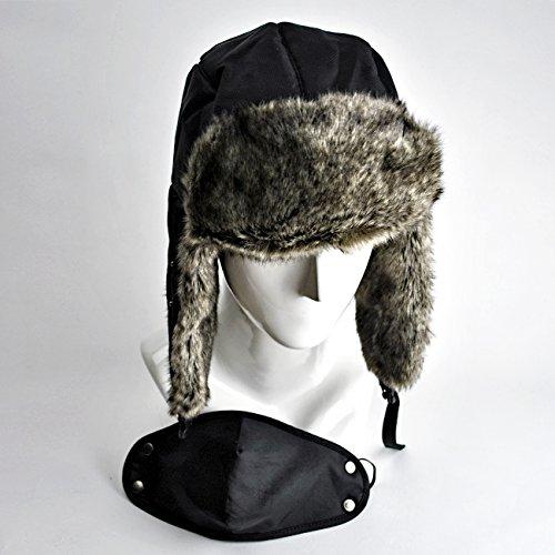 防寒機能抜群なスタイリッシュなフェイクファーのマスク付きロシアンハット ブラック