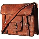 "Pranjals House 10 X 13"" Real Brown Leather Messenger Bag Laptop MacBook Satchel Crossbody Bag"