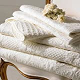 Sashi Bed Linen Havana Embossed 100% Cotton Quilted Bedspread, Warm Cream, King