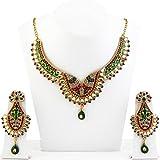 Glitz & Glitter Zinc Alloy Maroon Necklace Set - 2101805