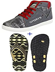 Earton COMBO Pack Of 2 Pair Of Shoes (Casual Shoe & Flip-Flops & House Slippers)