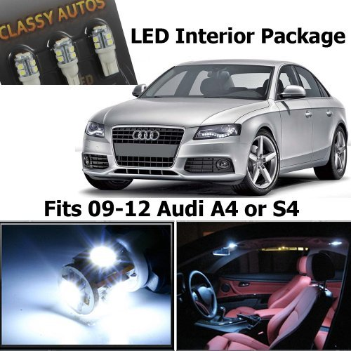 Classy Autos Audi A4 S4 White LED Lights Interior Package Kit B8 (10 Pieces)