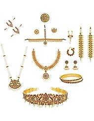 Combo Of Bharatanatyam Kuchipudi Dance Jewellery Set With Ready Jada Paper Flower Bun And Salangi